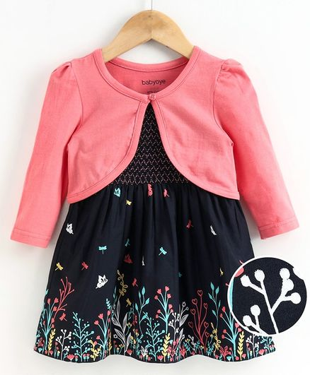 Babyoye Frock With Full Sleeves Shrug Floral & Butterfly Print - Navy Blue Pink