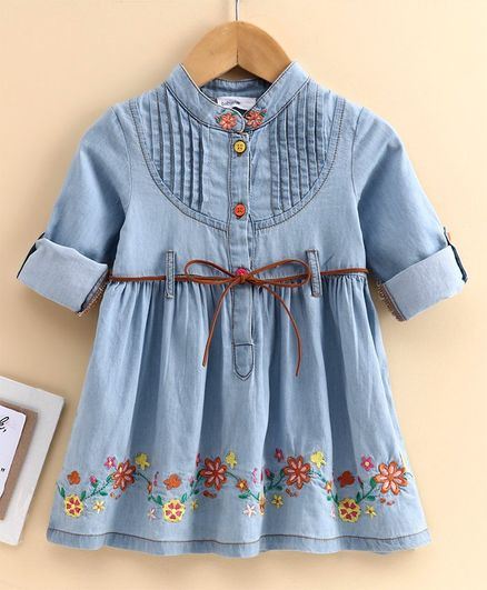 Babyoye Full Sleeves Denim Frock Floral Embroidered  - Blue