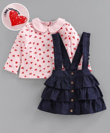 Babyoye Full Sleeves Tee & Layered Skirt With Attached Suspenders Heart Print - Pink Blue