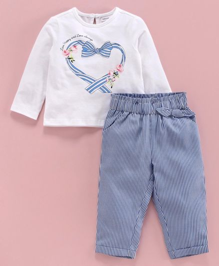 Babyoye Full Sleeves Top with Striped Trousers Heart Print - White Blue