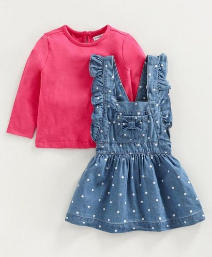 Babyoye Frock with Full Sleeves Inner Tee Polka Dots - Blue Pink