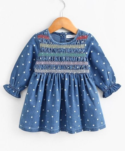 Babyoye Full Sleeves Denim Embroiderd  Frock - Blue