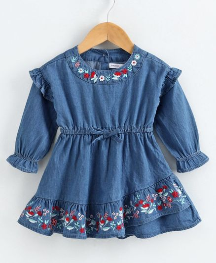 Babyoye Frill Sleeves Denim Frock Floral Embroidery - Blue