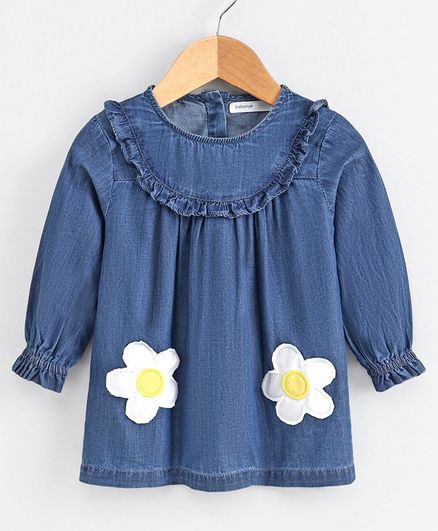 Babyoye Full Sleeves Frock Floral Patch - Blue