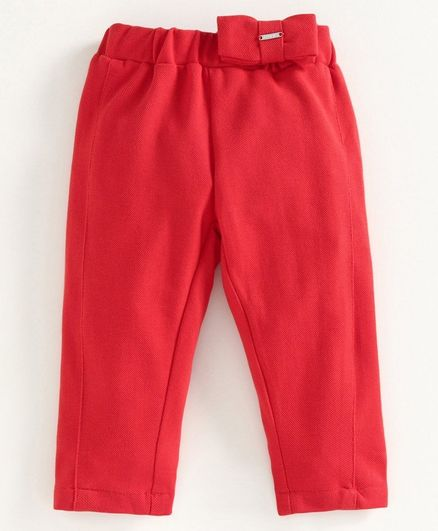 Babyoye Full Length Pant Bow Applique - Red