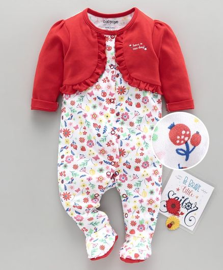 Babyoye Full Sleeves Footed Sleepsuit Floral Print - Red