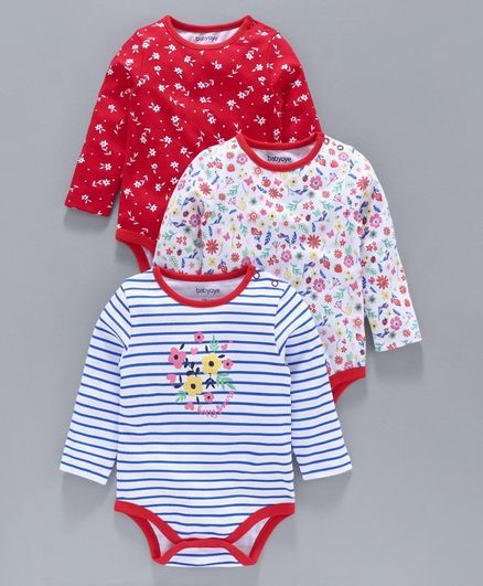 Babyoye Full Sleeves Onesie Floral Print Pack of 3  - Red