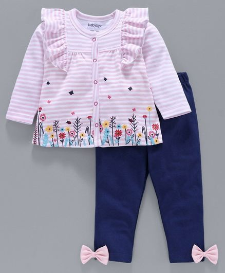 Babyoye Full Sleeves Striped & Floral Printed Top & Leggings - Pink Blue