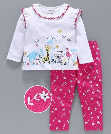Babyoye Full Sleeves Top & Leggings Animal & Floral Print - White Pink