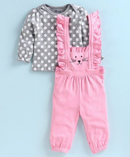 Babyoye Dungaree with Full Sleeves Inner Tee Polka Dot Print - Grey Pink