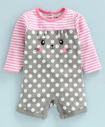Babyoye Full Sleeves Cotton Romper Kitty Print - Pink Grey