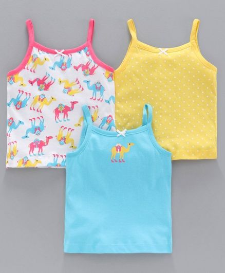 Babyoye Singlet Sleeves Slip Camel Print Pack of 3 - Yellow Blue Pink