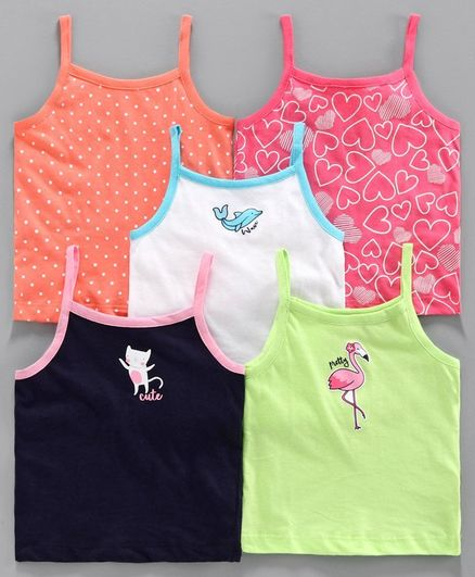 Babyoye Cotton Singlet Camisoles Multi Print Pack of 5 - White Multicolour