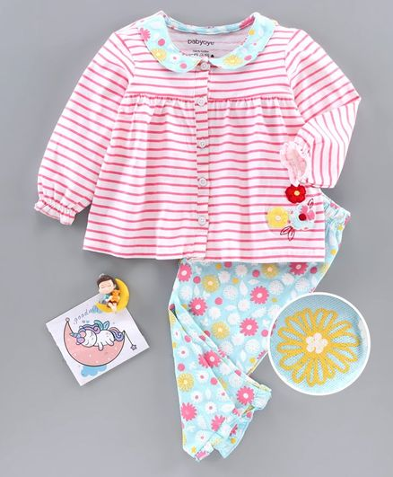 Babyoye Full Sleeves Striped Night Suit - Pink
