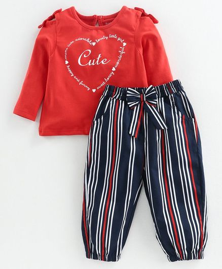 Babyoye Cold Shoulder Top & Stripe Pant Text Print - Red Navy Blue