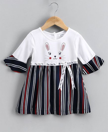 Babyoye Three Fourth Sleeves Striped Frock  - Navy Blue