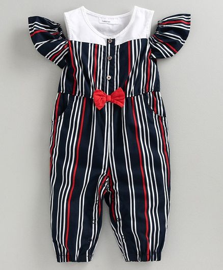 Babyoye Striped Cold Shoulder Woven Jumpsuit - Navy Blue