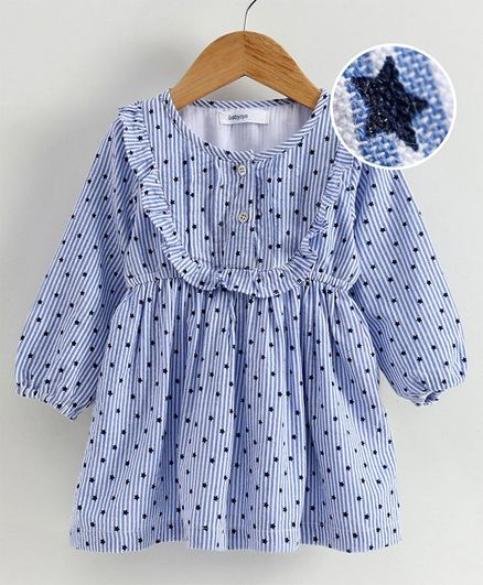 Babyoye Balloon Sleeves Cotton Frock Star Print - White Blue