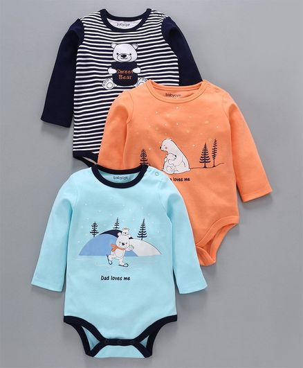 Babyoye  Cotton Full Sleeves Onesies Bear Print Pack of 3 - Navy & Sky Blue Orange