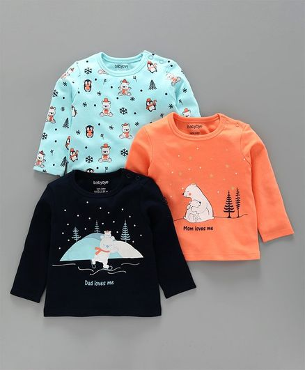 Babyoye Full Sleeves T-Shirt Bear Print Pack of 3 - Orange, Blue