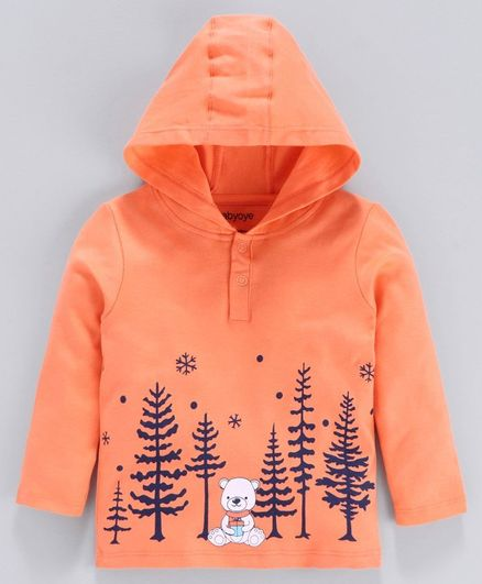 Babyoye Full Sleeves Cotton Hooded Tee Forest Print - Orange