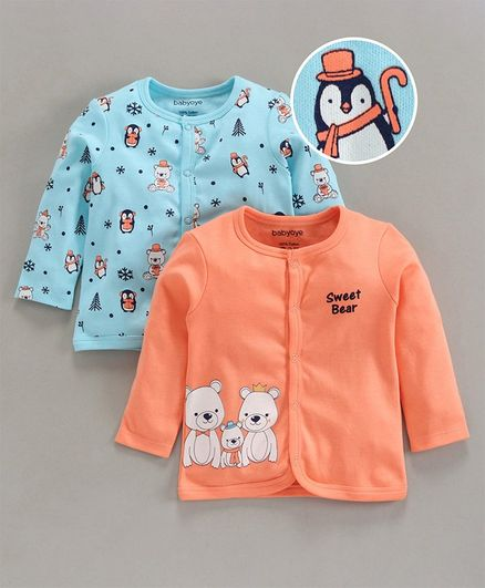 Babyoye Full Sleeves Cotton Jhabla Teddy Print Pack of 2 - Orange Blue