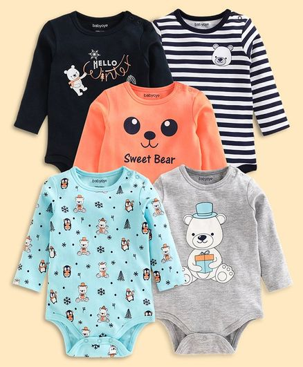 Babyoye Full Sleeves Cotton Onesie Teddy Print Pack of 5 - Grey