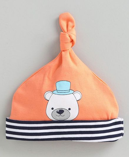 Babyoye Cotton Tie Knot Cap Teddy Print - Orange