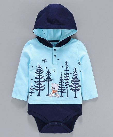 Babyoye Full Sleeves Hooded Cotton Onesie Bear Print - Blue