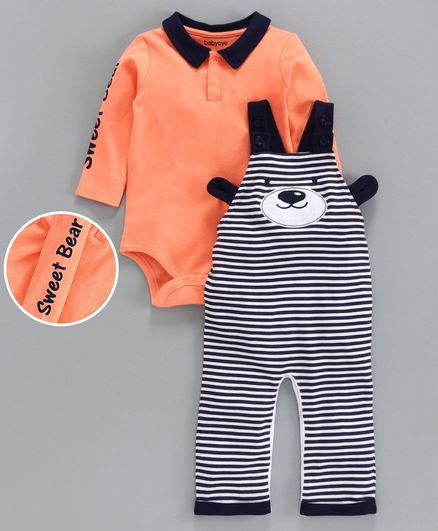 Babyoye Striped Cotton Dungaree with Inner Full Sleeves Onesie - Orange Black