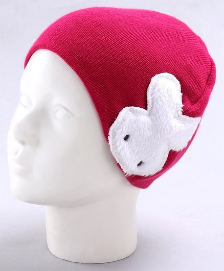 Babyoye Acrylic Double Layered Woollen Cap Red - Diameter 12 cm