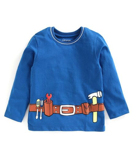Babyoye Cotton Full Sleeves Tee Tools Belt Print - Blue