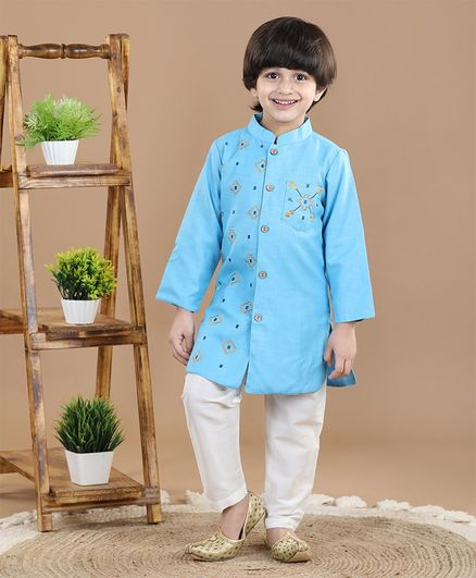 Babyoye Cotton Full Sleeves Embroidered Kurta - Blue