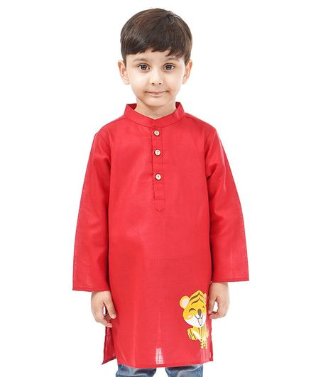 Babyoye Cotton Full Sleeves Kurta Tiger Embroidery - Red