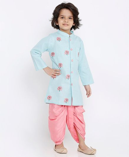 Babyoye Full Sleeves Cotton Kurta & Dhoti Set Floral Embroidered - Sea Green Pink