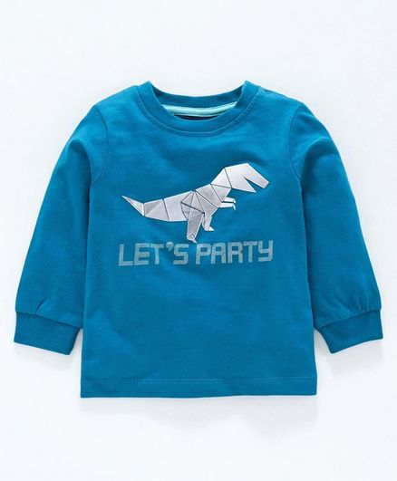 Babyoye Full Sleeves Cotton T-Shirt Dino Print - Blue
