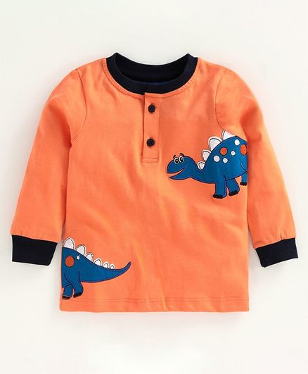 Babyoye Full Sleeves Cotton Tee Dino Embroidered - Orange