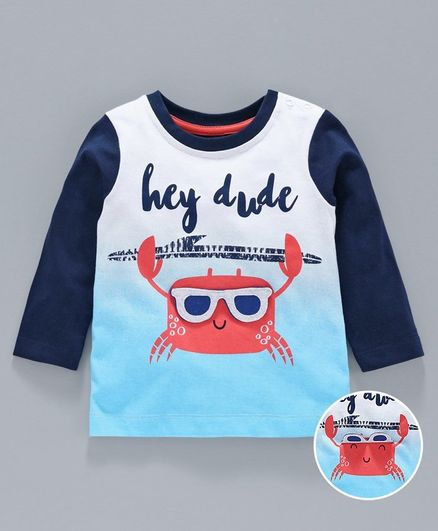 Babyoye Full Sleeves Cotton Tee Hey Dude Print - White Blue