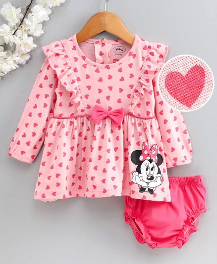 Babyhug Full Sleeves Frock with Bloomer Minnie Mouse Print - Pink