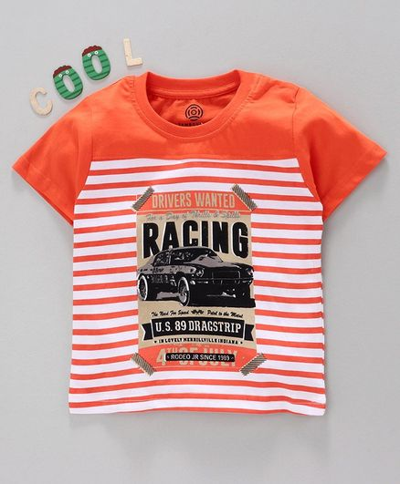 Tambourine Striped Half Sleeves Tee - Orange