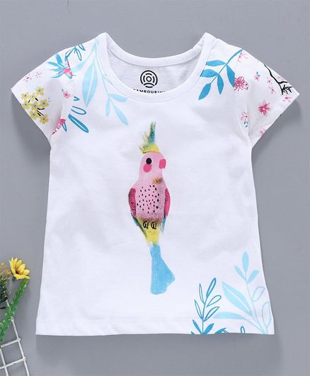 Tambourine Short Sleeves Bird Print T-Shirt - White