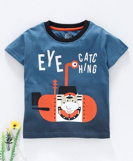 Tambourine Half Sleeves Eye Catching Print T-Shirt  - Blue