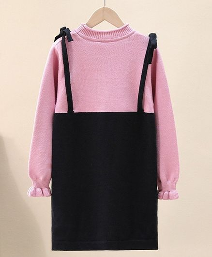 Kookie Kids Full Sleeves Winter Frock - Pink Black