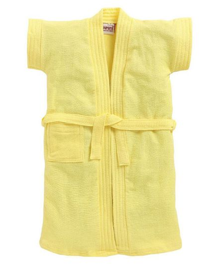 BUMZEE Solid Colour Half Sleeves Bathrobe - Yellow