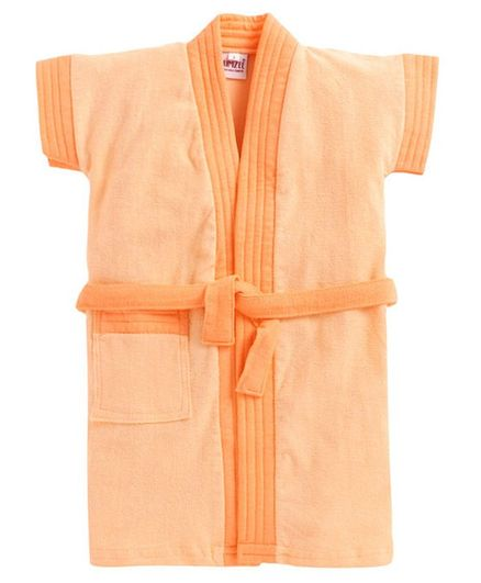 BUMZEE Solid Colour Half Sleeves Bathrobe - Peach