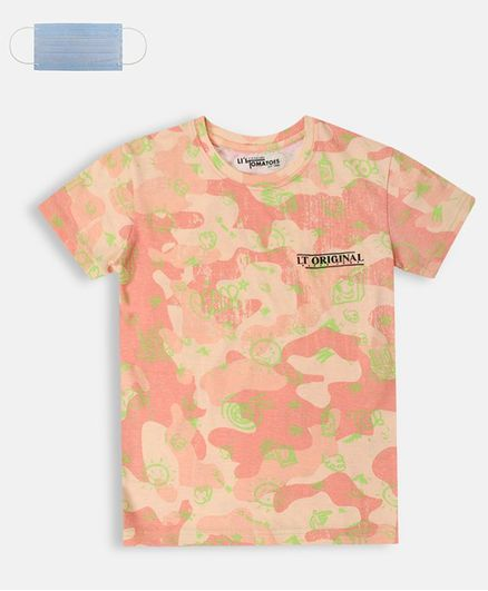 Li'L tomatoes Half Sleeves Sun & Cloud Printed T-Shirt With Free 3-Ply Face Mask - Coral