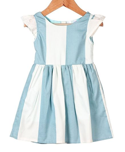 My Meo Striped Cap Sleeves Flared Dress - Sky Blue