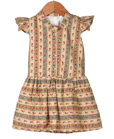 My Meo Cap Sleeves Floral Printed Fit & Flared Dress - Cream
