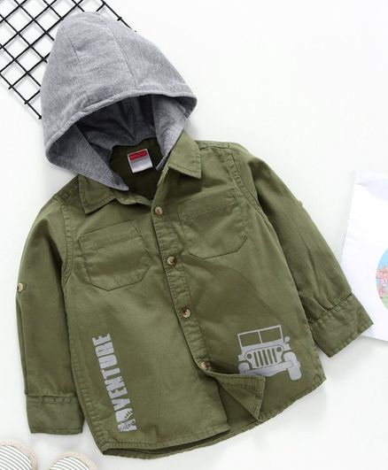 Babyhug Full Sleeves Shirt with Detachable Hood Vehicle Print - Green Grey