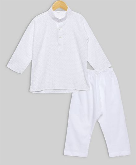 oui oui Solid Full Sleeves Kurta & Pyjama Set - White